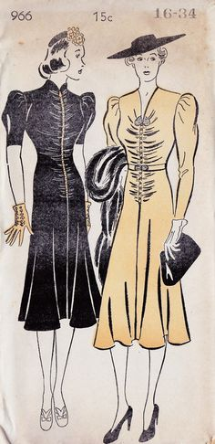 "Love the 'Slide Fastener' as a design feature front and center on the dress on the left. 1930s Misses Dress Vintage Sewing Pattern, Shirred Front, Cocktail Dress, New York 966 bust 34"" uncut. $38.00, via Etsy."