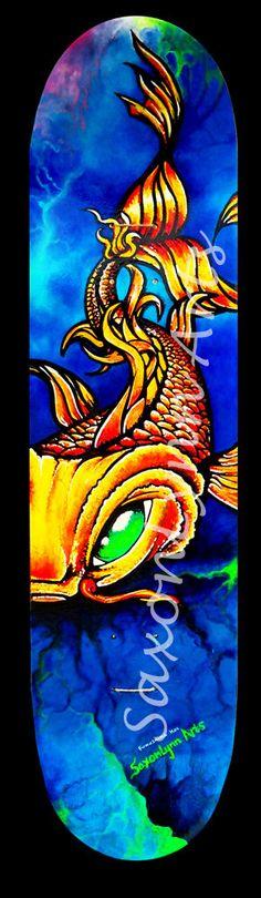 Koi Fish Skateboard Original Fine Art Painting - Made to order Custom Skateboard Art FREE SHIPPING. Surf Art