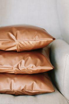 metallic copper faux leather pillows, pantone butterum, light brown, caramel brown, copper brown, camel brown, copper tan, butterscotch, terra cotta, clay brown, copper