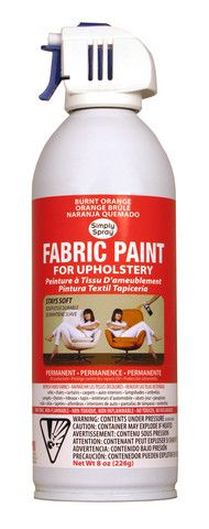 Burnt Orange Upholstery Fabric Paint by Simply Spray -- I have two Eames upholstered shell chairs that have seen better days... about four decades ago. It took one can per chair, with multiple applications, to wonderfully restore the original color of the fabric, and to cover many years' worth of stains. This stuff is magic!