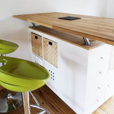 Cuisine kitchen islands and sons on pinterest - Table bar cuisine avec rangement ...