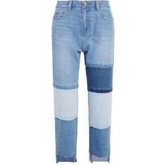 SJYP Steve J & Yoni P Patchwork cropped high-rise straight-leg jeans (€275) ❤ liked on Polyvore featuring jeans, light denim, high-waisted jeans, high rise jeans, straight leg jeans, high waisted cropped jeans and distressed straight-leg jeans