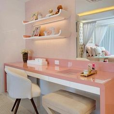 Most Popular Study Table Designs and Children's Chairs Today Cute Bedroom Ideas, Cute Room Decor, Girl Bedroom Designs, Small Room Bedroom, Bedroom Decor, Girls Bedroom, Study Table Designs, Aesthetic Rooms, Home Office Decor