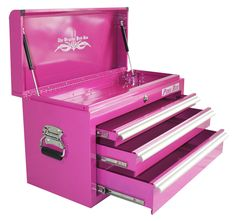Pink Tool Box, Pink Box Bench Tool Boxes, Pink Toolbox, Pink Box Toolboxes - 3 drawer