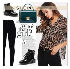 """""""Leopard Print Blouse - SHEIN"""" by dina-795 ❤ liked on Polyvore"""