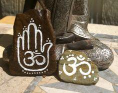 Set of 2 Painted Zen Stones - Ohm, Hamsa Hand, Garden, Paperweight, Office…
