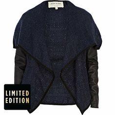 Navy boucle waterfall jacket - leather / leather look jackets - coats / jackets - women
