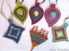 Crochet necklace,fiber necklace,crochet pendant,drop pendant,crochet…