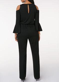 Black Keyhole Back Cinched Waist Cold Shoulder Jumpsuit Black Jumpsuit, Jumpsuit Outfit, Pantalon Elephant, Embellished Jumpsuit, Grey Long Sleeve Tops, Jumpsuits For Women, Fashion Outfits, Cold Shoulder, Clothes