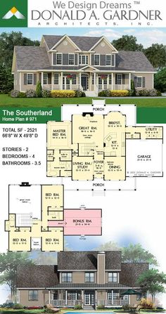 House Plans - The Southerland - Home Plan 971 Sims House Plans, New House Plans, Dream House Plans, House Floor Plans, Four Bedroom House Plans, Architectural House Plans, Courtyard House Plans, Country Style House Plans, Dream House Exterior