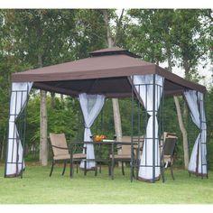 3 X 3m Metal Gazebo Garden Canopy Patio Party Event Tent Pavilion Outdoor  W/ Net