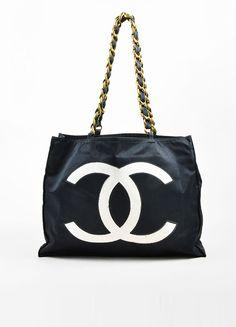 Black and White Chanel GHW Jumbo 'CC' Nylon Chain Strap Tote Bag