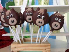 Horse cake pops at a cowboy birthday party! See more party planning ideas at CatchMyParty.com!