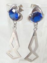 Cobalt and Silver Dangle Earrings-Cobalt Silver Earrings, Sterling Silver Earrings, Mexican Silver Jewelry, Boho Earrings, Beach Silver Earr...