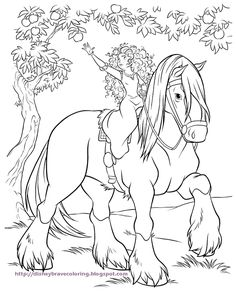 Scottish Princess Merida from the Brave movie - on her horse Angus - ready to be coloured in.