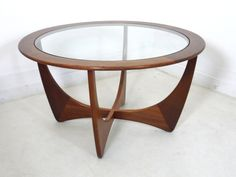 G Plan Astro Circular Teak Mid Century 60s 70s Glass Top Coffee Table