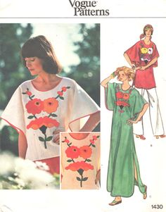 Vogue 1430 Misses Pullover CAFTAN Top Tunic Dress Pattern Kimono Sleeves Womens Vintage Sewing Pattern Size 8 Bust 31 Peasant Dress Patterns, Kimono Pattern, Vogue Sewing Patterns, Vintage Sewing Patterns, Sewing Ideas, Little Dresses, Tunic Tops, Pullover, 1970s