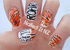 Tiger Nail Art, Tiger Nails, Animal Nail Art, Latest Nail Designs, Cute Nail Designs, Super Cute Nails, Pretty Nails, How To Do Nails, Fun Nails