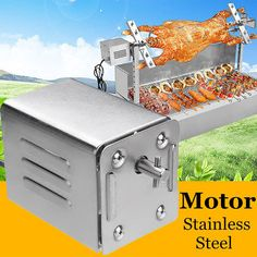 Buy Practical Electric Spit Rotisserie BBQ Motor Stainles Steel Barbecue Rotating Roast Motor Outdoor Camping Tool at Wish - Shopping Made Fun Barbecue Grill, Grilling, Electric Bbq Grill, Bbq Spit, Stainless Steel Bbq Grill, Rotisserie Grill, Brick Bbq, Best Charcoal Grill, Camping Bbq