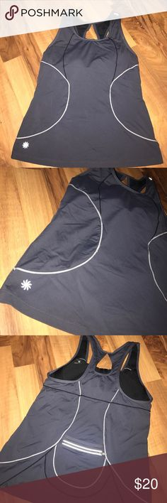 Gray Athleta racerback top Gray racerback tank top with some padding and zipper on the back. Good used condition. Athleta Tops