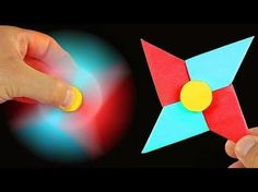 Origami Fidget Spinner - How to make a Fidget Spinner without a bearing: DIY Spinner with paper Origami Toys, Instruções Origami, Geometric Origami, Cute Origami, Origami Paper Art, Paper Crafts, Origami Claws, Origami Fidget Spinner, Fidget Spinner Template