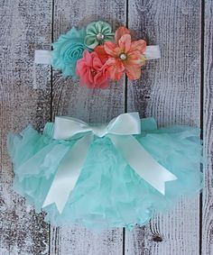 Look at this Ella's Bows Coral & Aqua Shabby Flower Headband & Bloomers - Infant on #zulily today!