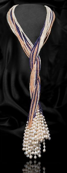 WHITE MULTI-STRAND SCARF SHAPE FRESHWATER PEARL NECKLACE