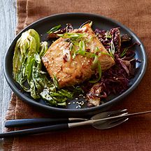 Image of  Asian-Spiced Salmon with Baby Bok Choy and Shiitakes