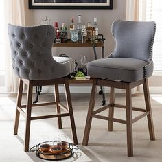 Grey Bar Stools, Bar Stool Seats, Wooden Bar Stools, Modern Stools, Modern Bar, Swivel Bar Stools, Unique Bar Stools, Swivel Chair, Stools For Kitchen Island