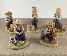 Homco Denim Days Five 5 Assorted Figurines After Chores Giving Thanks Puppy Love #Homco
