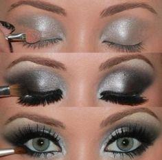 Silver  black smokey eyes