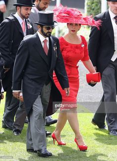 Sheikh Mohammed Bin Rashid Al Maktoum, and Princess Haya bint Al Hussein attend the third day of Royal Ascot at Ascot Racecourse on June 2016 in Ascot, England. (Photo by Chris Jackson/Getty Images) Princess Haya, Royal Princess, Aintree Races, The Half Sisters, Royal Family Pictures, Handsome Arab Men, King Abdullah, Sheikh Mohammed, Royal Ascot