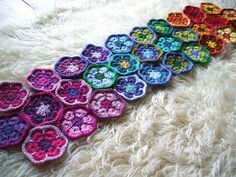 African flowers crochet hexagons | Flickr - Photo Sharing!