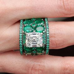 This Moissanite Unique Engagement Ring Set Two Tone Gold is just one of the custom, handmade pieces you'll find in our bridal sets shops. Emerald Jewelry, High Jewelry, Turquoise Jewelry, Jewelry Rings, Jewelery, Emerald Rings, Modern Jewelry, Gold Diamond Wedding Band, Ring Set