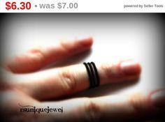 On Sale Adjustable Black midi ring Wire wrapped by rsuniquejewel Gothic Rings, Knuckle Rings, Midi Rings, Wire Wrapped Rings, Wire Wrapping, Rings For Men, Wedding Rings, Engagement Rings, Unique Jewelry