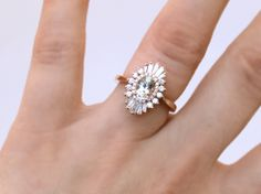 The Lindy Ring - Art Deco Oval Engagement Ring - white sapphires and diamonds - sunburst, Gatsby - engagement, wedding, anniversary, cocktai...