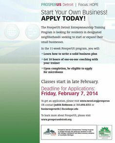 Start your own business! Apply today at ProsperUS Detroit.