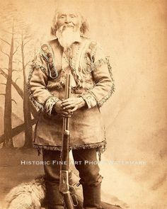 Old Frontiersman with Winchester rifle. Circa 1880.