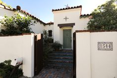 tile address :) dark shingles white texture walls. steps(except tile instead of bricks) :)