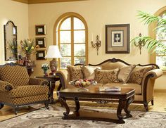 Odessa Traditional Wood Trim Chenille Sofa Couch Set Living Room