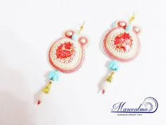 Coral earrings embroidered earrings Boho Big by Marecalmojewels