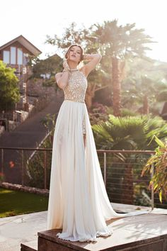 White Wedding Dresses,Long Wedding Gown,Lace Wedding Gowns,Chiffon Bridal Dress,Princess Wedding Dress,High Low Brides Dress,Gold Beaded Prom Dresses