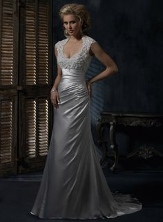Maggie Sottero -- Rosalyn     Satin gown w/Queen Anne neckline and beaded lace; ruched, asymmetrical skirt