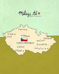 I Love You in Czech Republic // Typographic Print, Map, Giclee, Modern Baby Nursery Decor, Illustration, European Travel Theme, Digital
