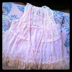Super cute lace vest Like NEW antique lace vest. 23 inches long Ya Los Angeles Tops