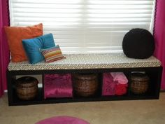 Cushioned window seat made from a shelf