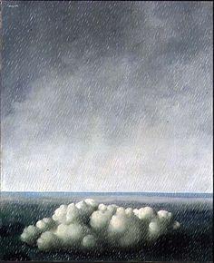 """peinture belge : René Magritte, 1937, """"Le Chant de l'Orage"""", nuage, pluie, gris, surréalisme, 1930s"""