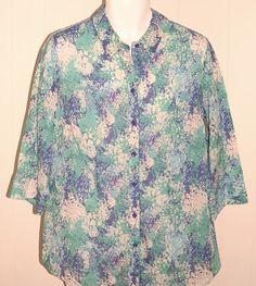 Coldwater Creek Botanical Shirt XL 16 NWT Blue Green Floral $74 Cotton Top #ColdwaterCreek #ButtonDownShirt