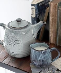 Lovely stoneware teapot and milk jug in the colours of a nordic sea Sold separately please select product option from the drop-down menu below