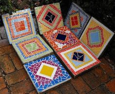 Mosaic stepping stones by Colleen Lang